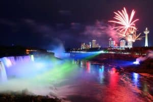 Niagara Falls New Year's Eve fireworks show over the Horseshoe Falls.
