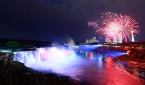 New Year's Eve weekend in Niagara Falls features fireworks over the Horseshoe Falls.