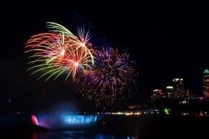 Fireworks light the sky above Niagara Falls